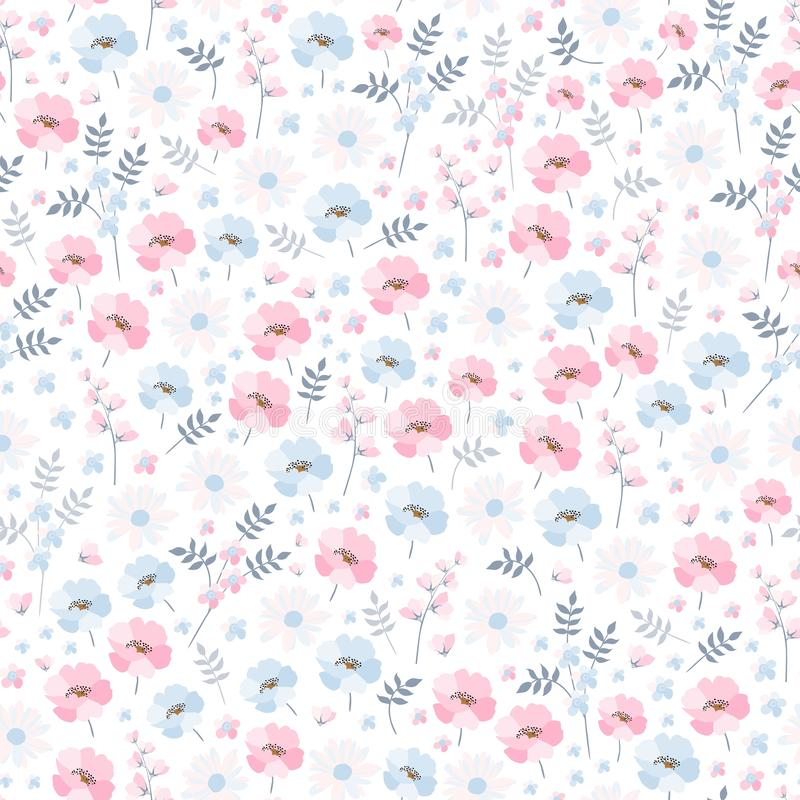 Tender ditsy floral pattern. Seamless vector design with light blue and pink flowers on white background. vector illustration
