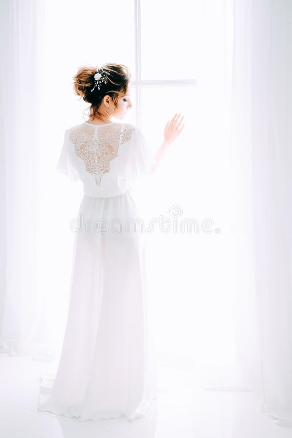 Tender elegant young bride with hairdo, hairpin and bridal makeup stock photo