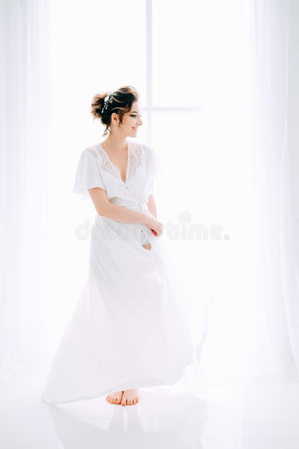 Tender elegant young bride with hairdo, hairpin and bridal makeup royalty free stock photos