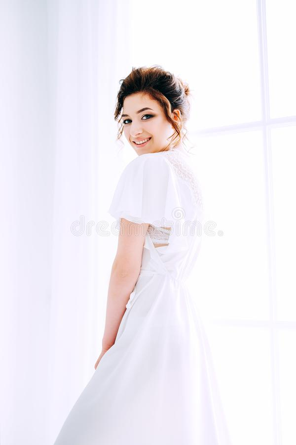 Tender elegant young bride with hairdo, hairpin and bridal makeup stock image