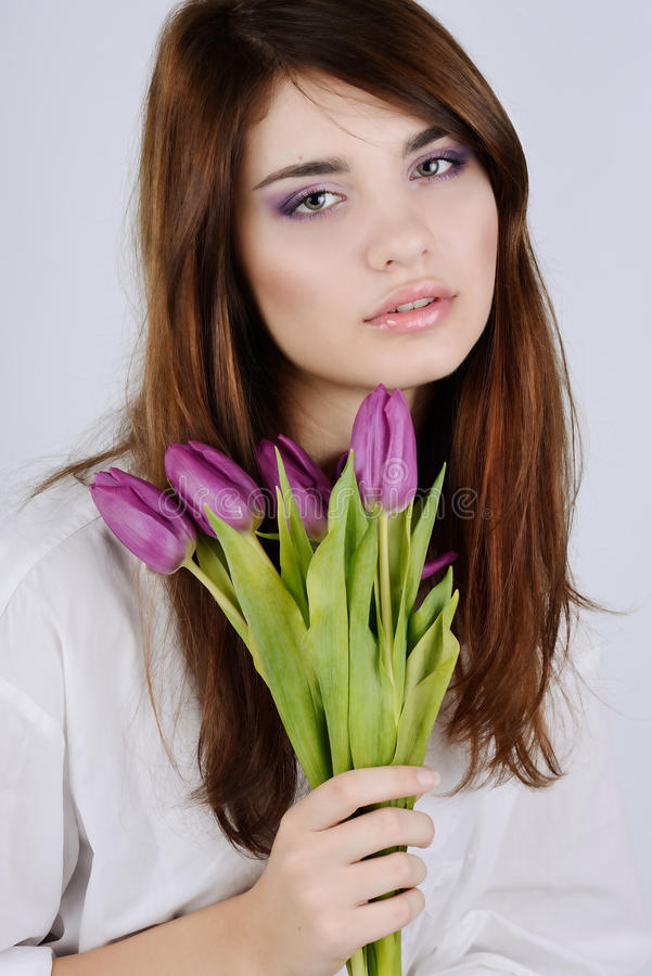 Download Tender girl with tulips stock photo. Image of pink, attractive - 28629046