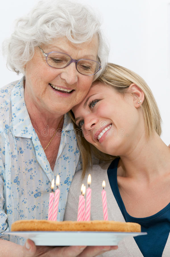 Tender Grandmother And Grandson Stock Image