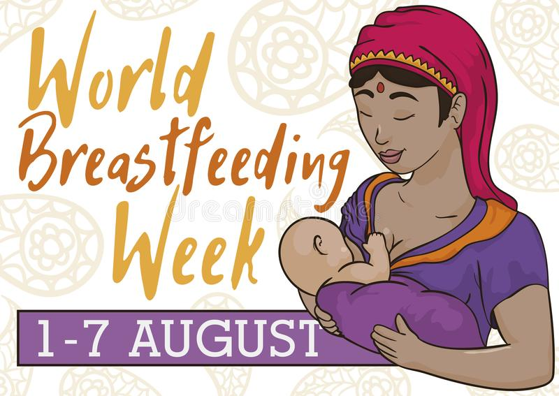 Indian Woman with Baby Celebrating World Breastfeeding Week, Vector Illustration. Tender Indian mom with her newborn baby breastfeeding ready to join to the royalty free illustration