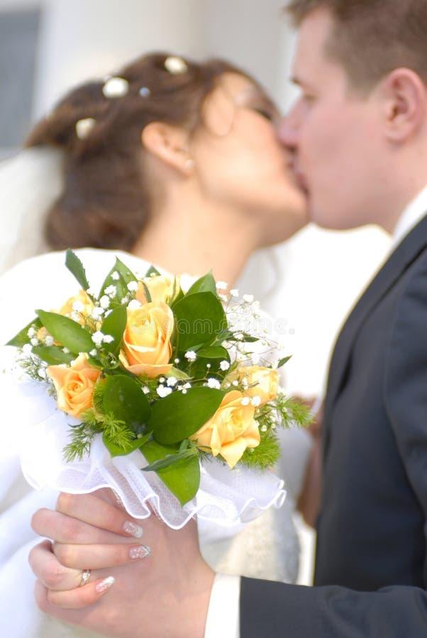 Tender kiss stock photos