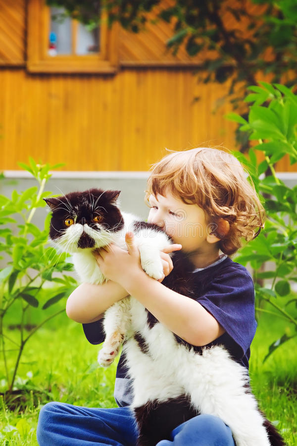 Tender moment between little boy and his feline friend cat. Focus on a cat. Instagram filter royalty free stock photography