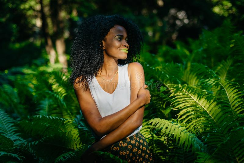 Tender outdoor portrait of the pretty beautiful african girl with green make-up peacefully smiling and looking aside royalty free stock photography