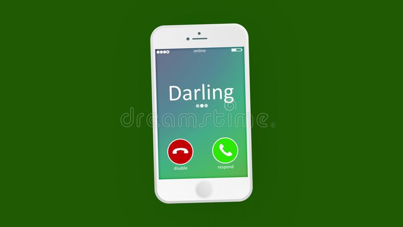 Tender phone calling picture. Hearty 3d rendering of an abstract phone calling, where the cell phone has Darling in the light green background. It says that some vector illustration