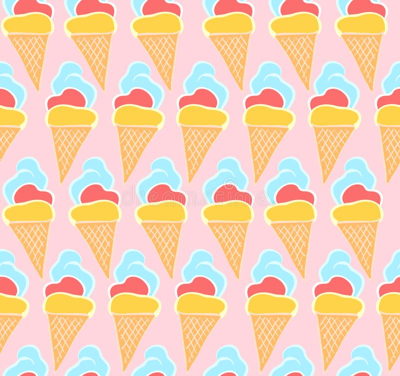 Tender pink pattern with hand drawn ice creams royalty free illustration