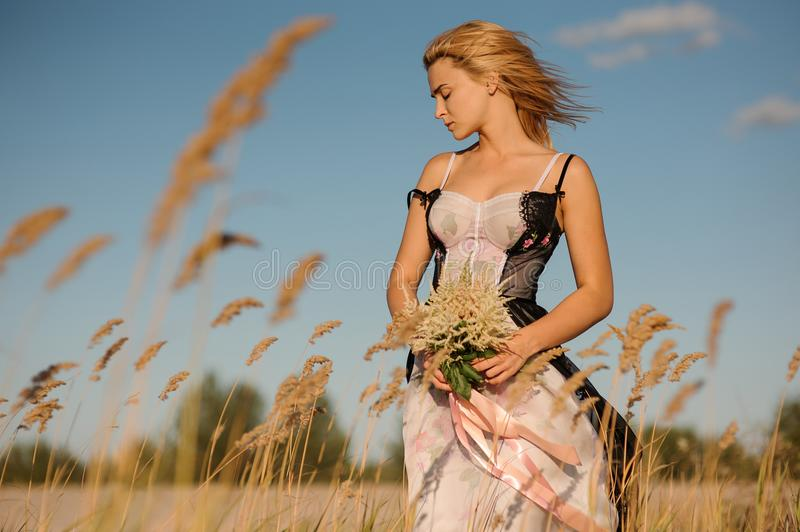 Tender portrait of a blonde girl in a lingerie on the field stock image