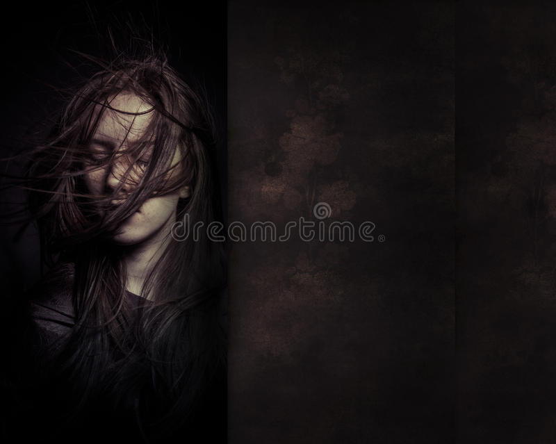 A tender portrait of a dreamy girl with eyes closed, perfect sk royalty free stock image