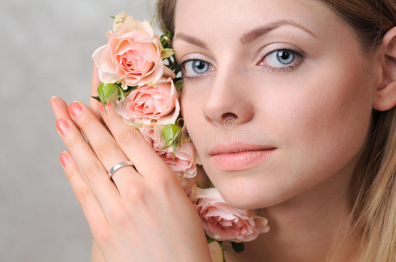 Tender portrait with roses stock photo
