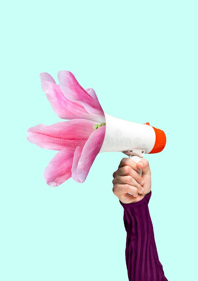 A tender reminder. Modern design. Contemporary art collage. A tender reminder. Social talks may grow into useful things. Males hand holding bullhorn with stock photo