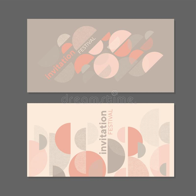 Tender rose colors simple geometric design element. For card, header, invitation, poster, social media, post publication. Textured retro vibes banner template royalty free illustration
