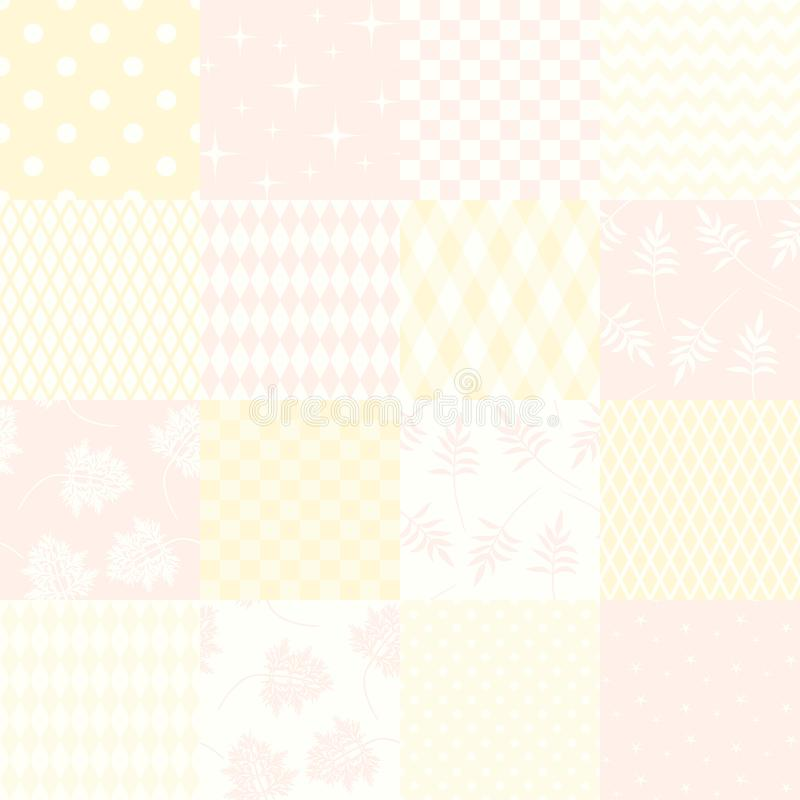 Tender seamless patchwork pattern from square patches in soft colors. Quilt background. vector illustration
