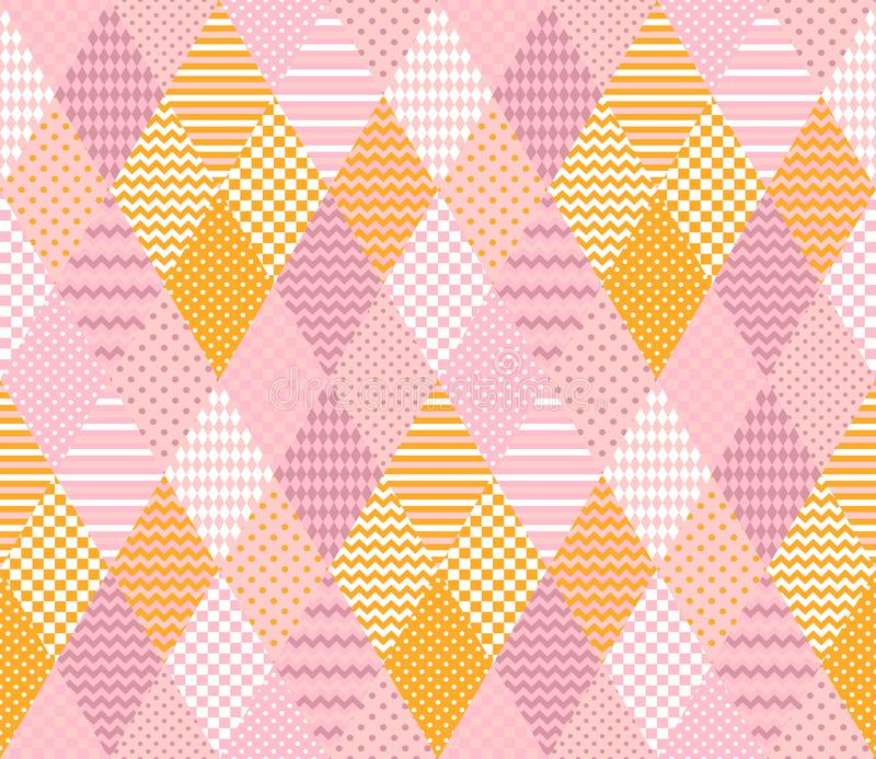 Tender seamless pattern. Elegant patchwork in pink and yellow colors stock illustration