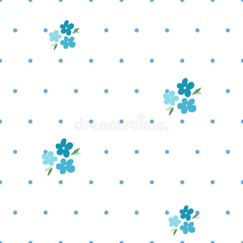 Tender seamless pattern with forget-me-nots and blue dots vector illustration