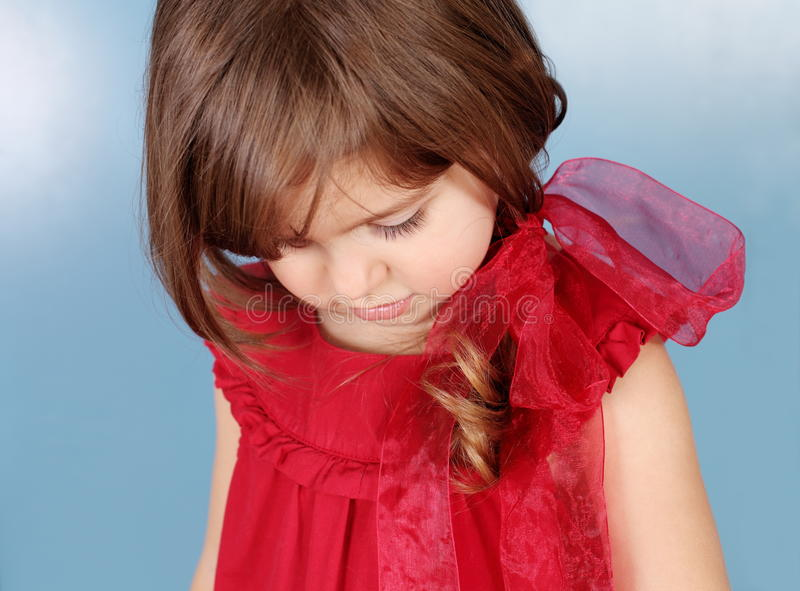Download Tender and Shy Little Girl stock photo. Image of blue - 24493694