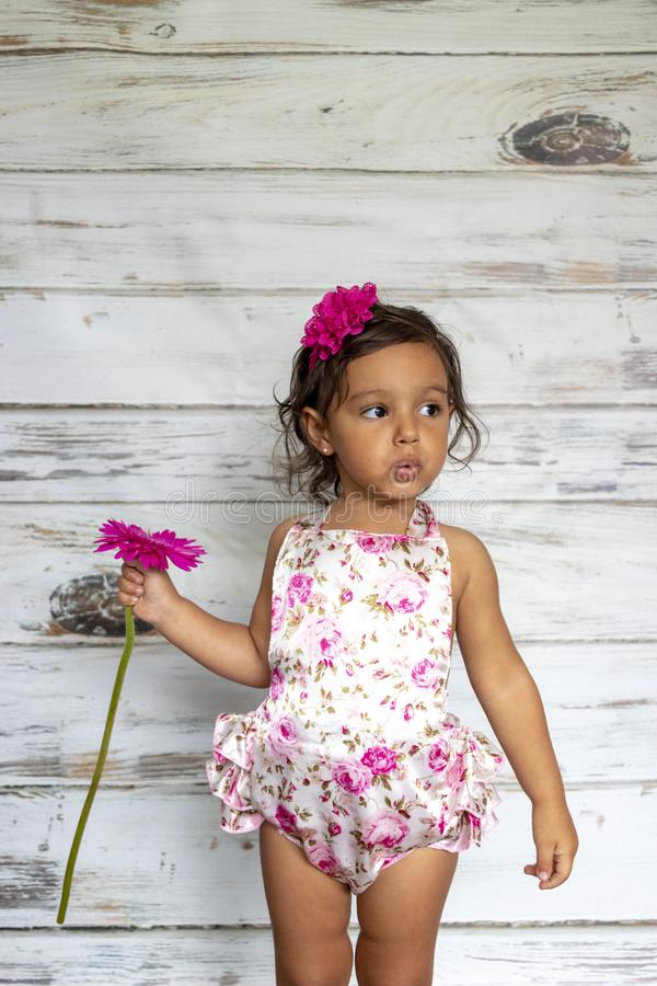 Tender smiling toddler. With a flower in her hands royalty free stock photography