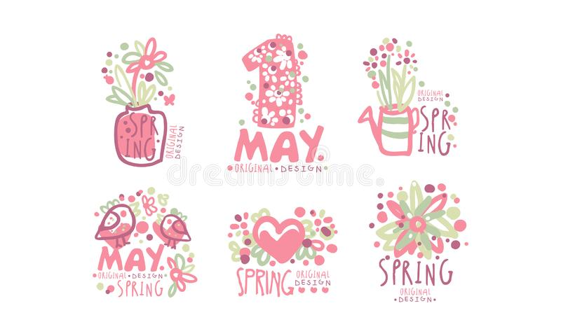 Tender Spring Labels and Logos with Original Design Concept Vector Set royalty free illustration