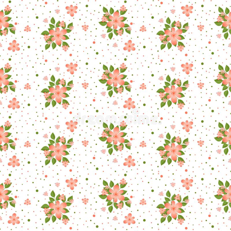 Tender, spring, pink-green, floral seamless pattern stock illustration