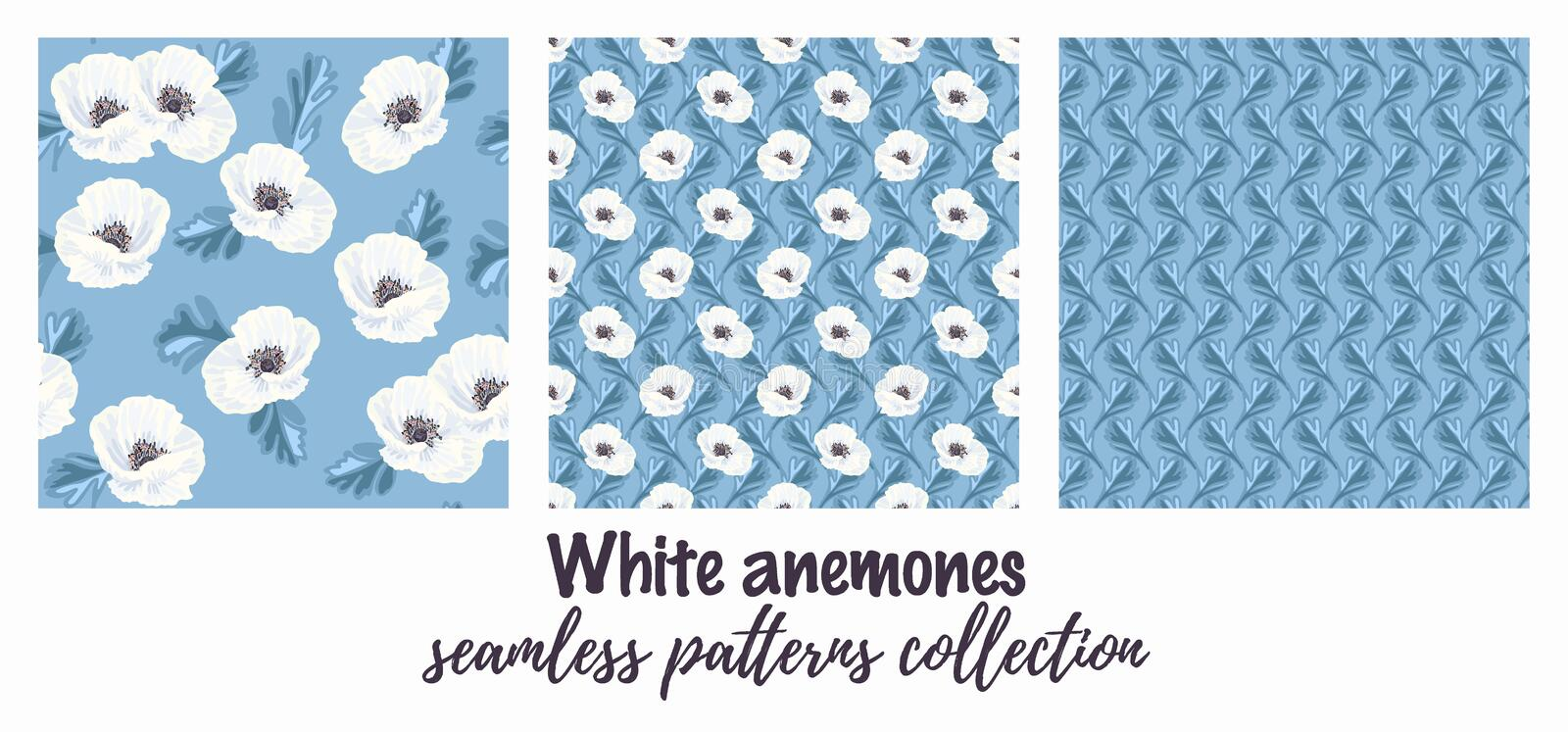 White anemones on the blue seamless pattern royalty free illustration