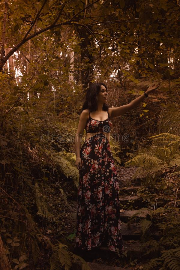 Tender woman in a black vintage dress touching leaves against the background of fiery autumn nature. Artistic Photography. Woman royalty free stock photo