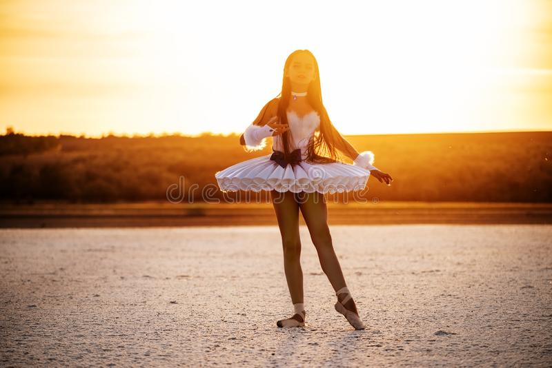 Tender young ballerina dancer in a snow-white tutu dress and white pointe shoes on a salty dried lake. royalty free stock image