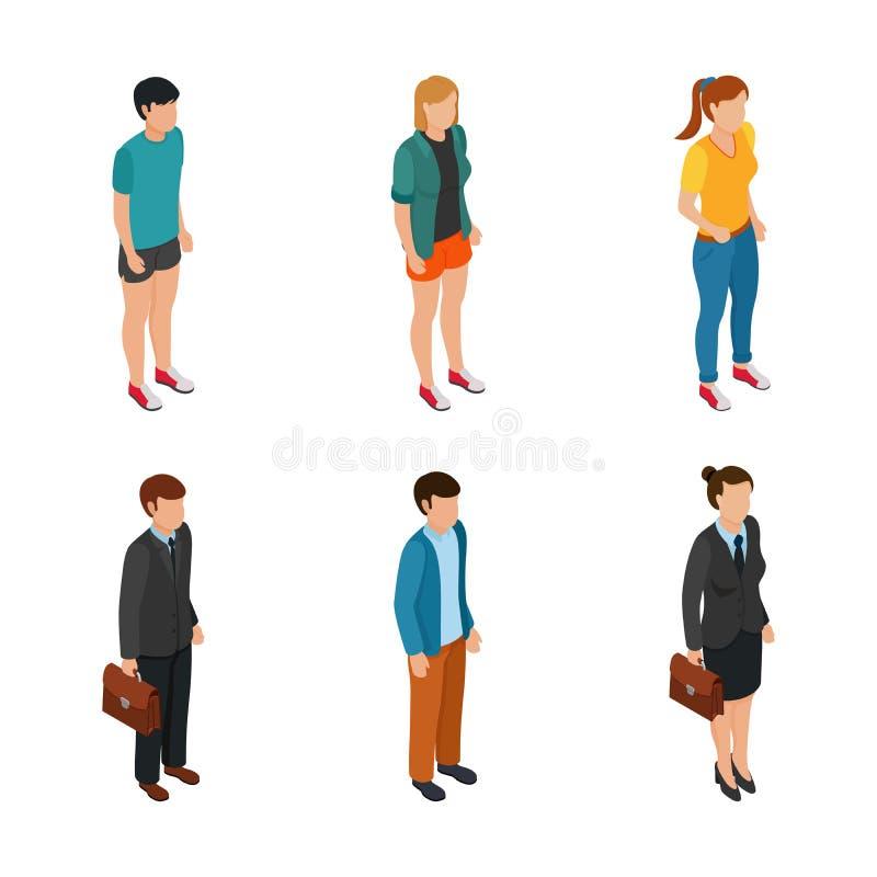 Tendera isometriskt folk av olika tecken tonåring, freelancers, affärskvinna och affärsman i isolerade dräkter stock illustrationer