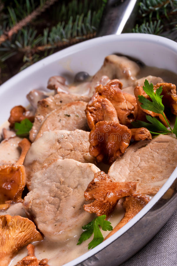 Tenderloin χοιρινού κρέατος με Chanterelle τη σάλτσα στοκ φωτογραφία