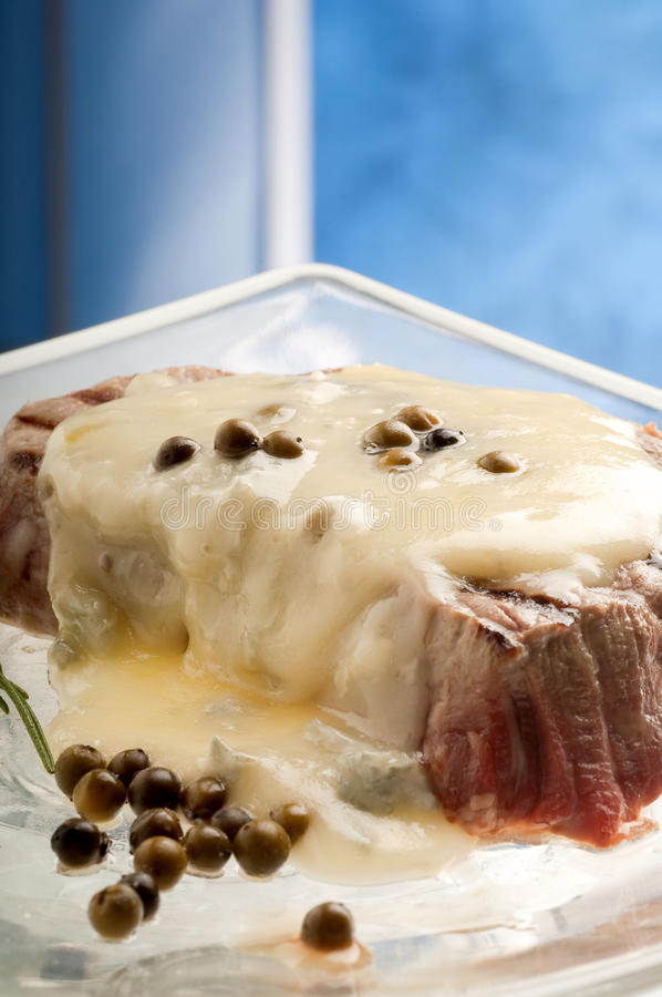 tenderloin with roquefort sauce royalty free stock photo
