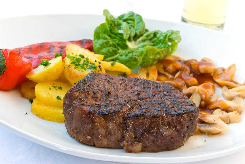 Tenderloin steak mignon-grilled with vegetables stock photo