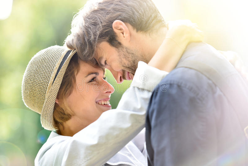 Tenderness of romantic couple in love stock photo
