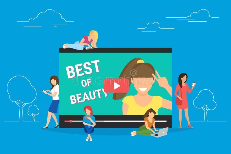 Tendez couler de vidéo de bloger d'isolement sur le fond bleu illustration stock
