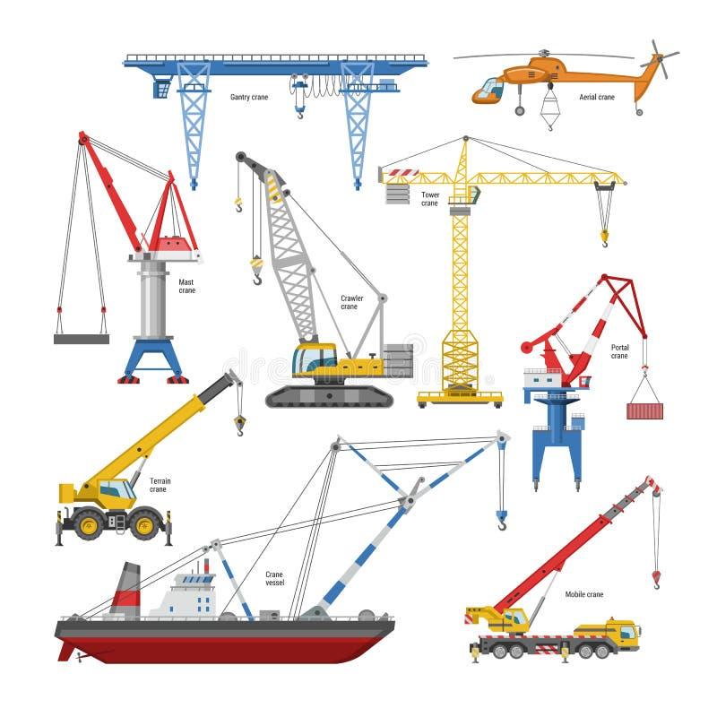 Tendez le cou l'équipement de tour-grue de vecteur et de bâtiment industriel ou l'ensemble d'illustration de constructiontechnics illustration stock