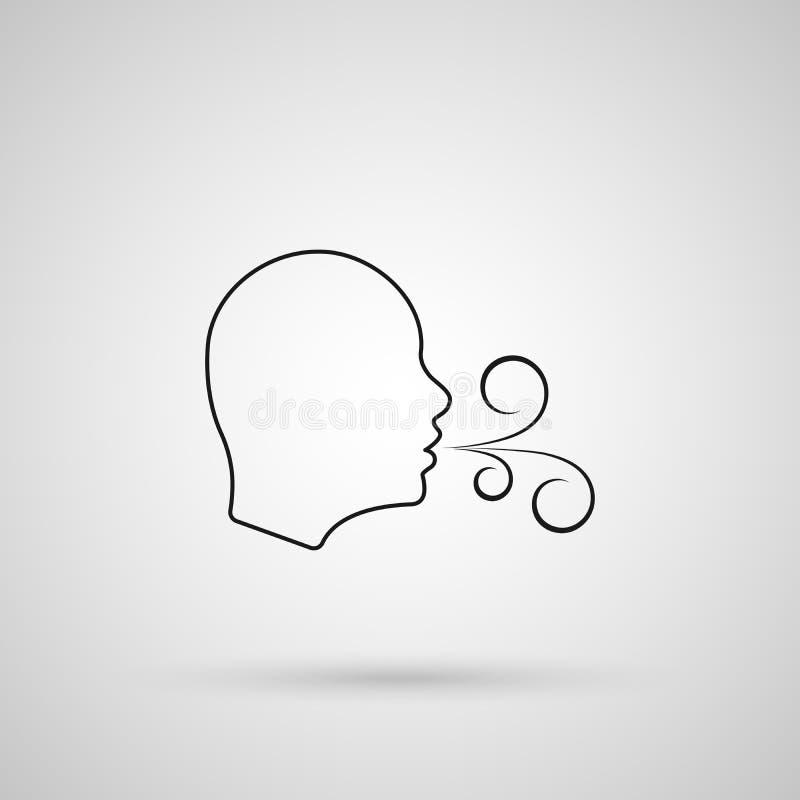 Tendo dificuldades da respiração Cuidados médicos Ícone de respiração do vetor verificando a respiração ou sofrendo problemas da  ilustração do vetor