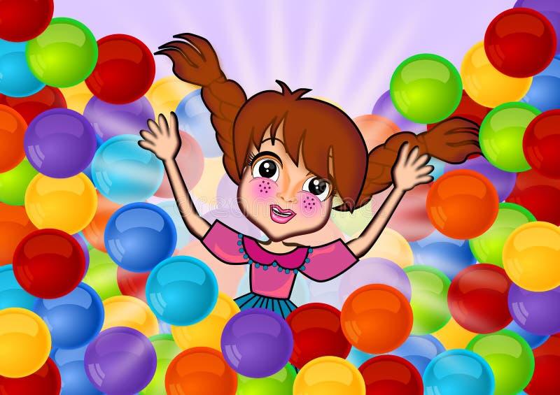 Tendo o divertimento em bolas coloridas