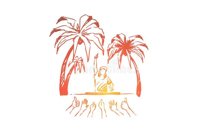 Tendo o partido da praia, DJ que faz a música ao vivo, pessoa que dá os polegares acima, desempenho ao ar livre do concerto, dive ilustração stock