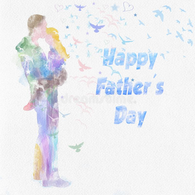 Tendresse entre le père et la fille illustration libre de droits