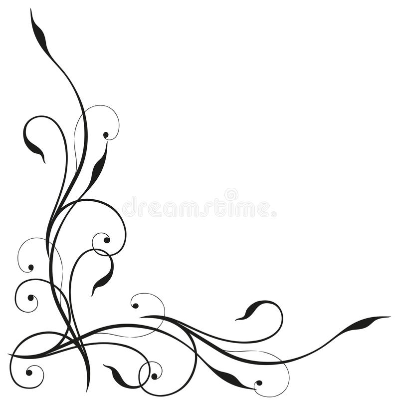 Tendril, black, elegant royalty free illustration