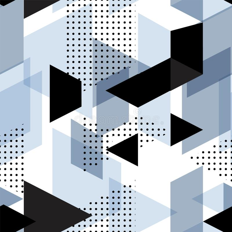 Tendy illustrationbakgrunder, den sömlösa modellen med abstrakt begrepp formar, geometrisk stil för 80-tal Retro konst för räknin vektor illustrationer