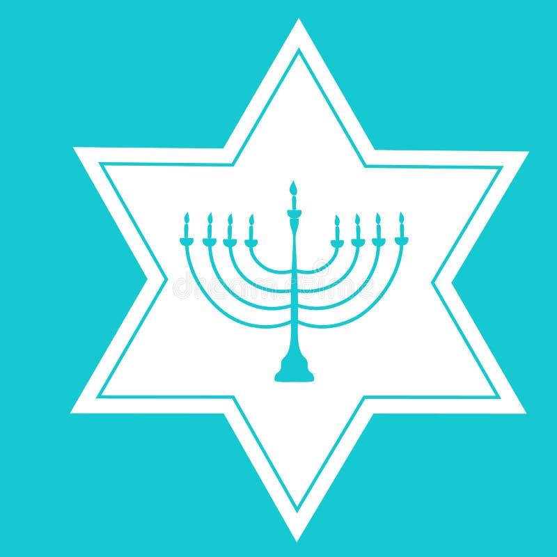 Tenedor blanco dibujado mano Silhouett de David Star Blue Menorah Candle stock de ilustración