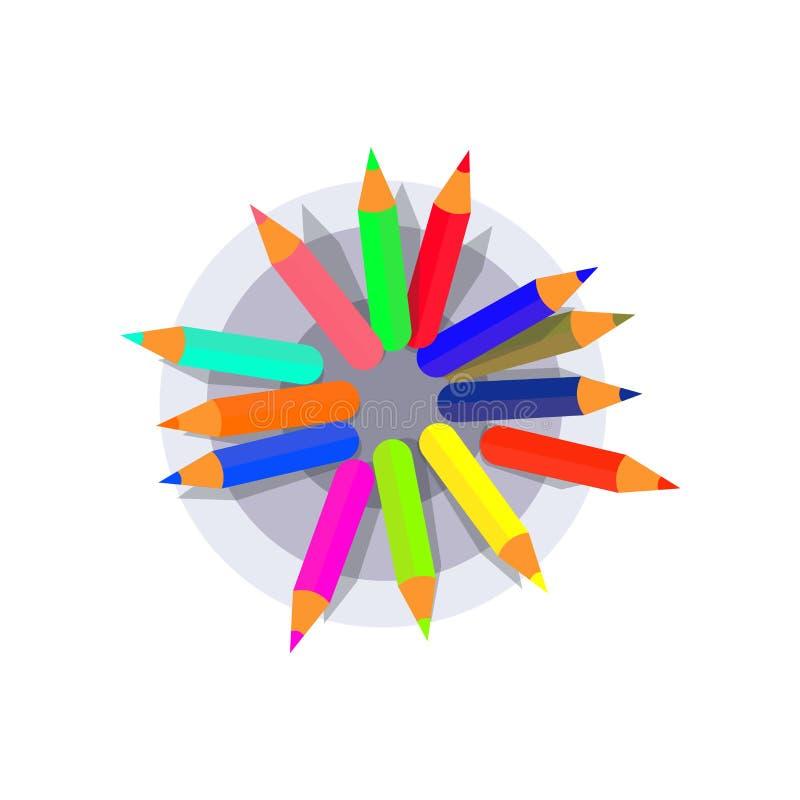 Tenedor de la pluma con la opinión superior de los lápices coloridos Diseño plano del ejemplo del vector ilustración del vector