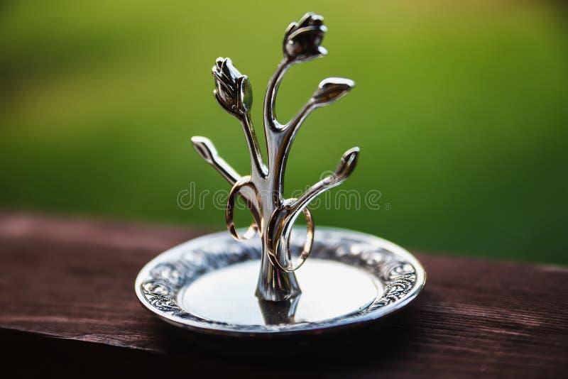Tenedor del anillo de bodas fotografía de archivo libre de regalías