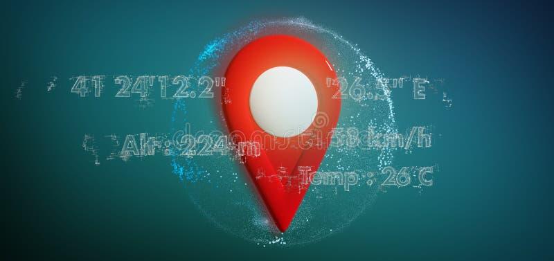 tenedor del perno de la representación 3d en un globo con coordenadas libre illustration
