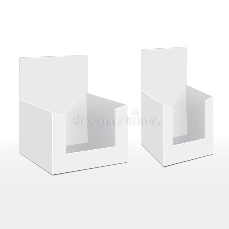 tenedor vacío de la caja de la demostración de la exhibición del espacio en blanco de la cartulina 3D para los aviadores de publi ilustración del vector