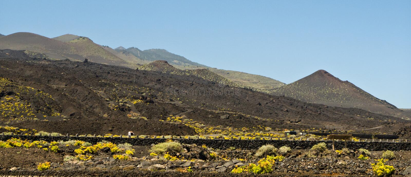 Teneguia volcan range, La Palma island. The Teneguia volcano range near Fuencaliente (aka Los Canarios) on the southernmost point of La Palma island. Canary stock photography