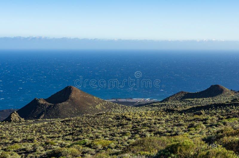 View over the volcanoes de Teneguia and the Salinas de Fuencaliente, La Palma, Canary islands, Spain. Teneguia is a volcanic area in the south of La Palma royalty free stock photo