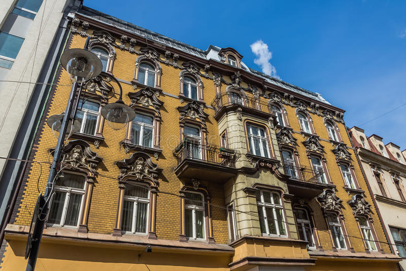Tenement built in neo-baroque architectural style. In the years of 1895-1896 in Katowice, Silesia region, Poland stock images