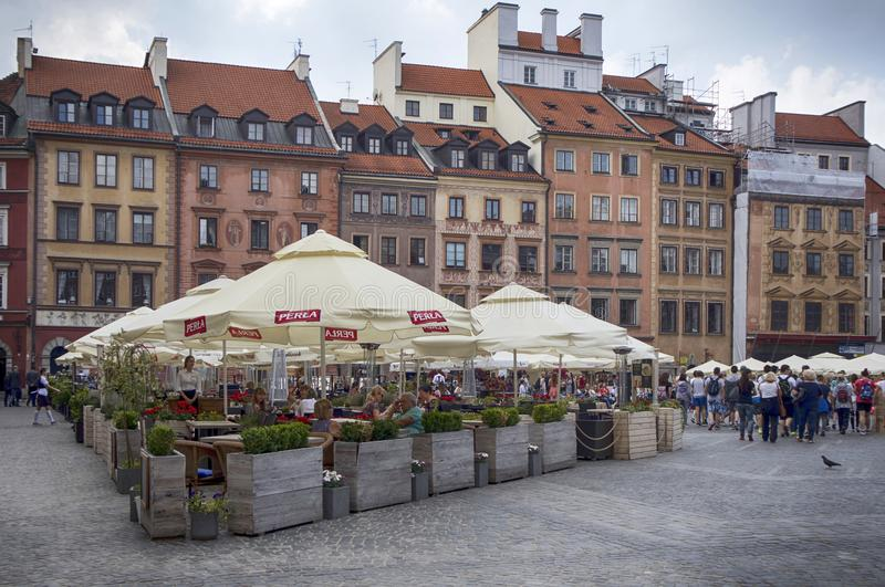 Tenement houses and restaurants on the Old Town Market Place, main square of Old Town in Warsaw city royalty free stock photo