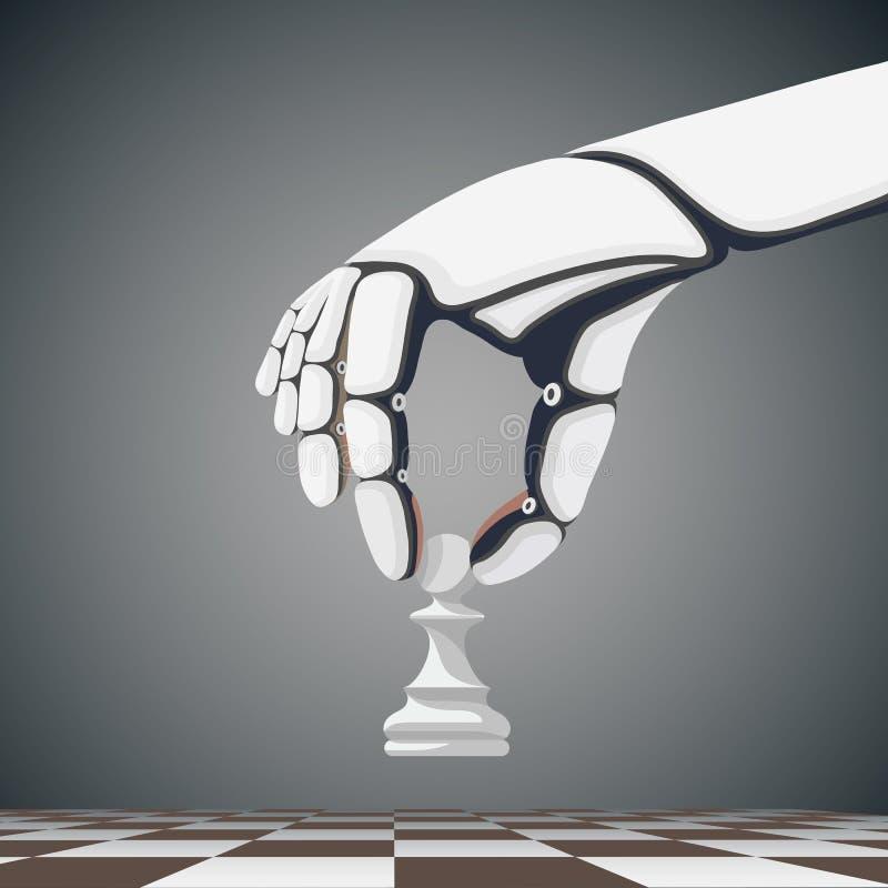 Tenencia de brazo del robot un empeño del ajedrez Inteligencia artificial acción v ilustración del vector